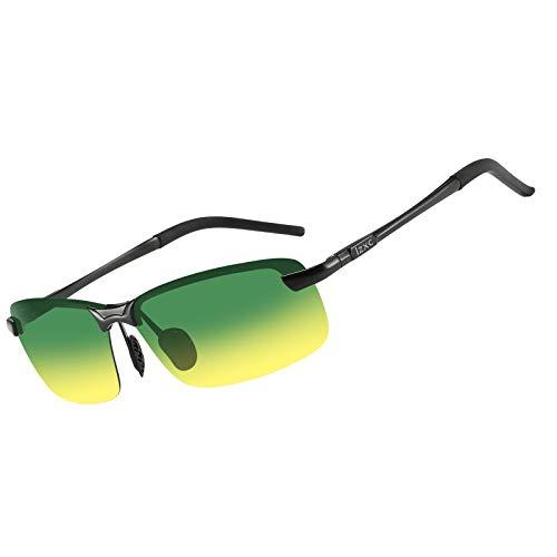 LZXC Occhiali da Sole da Guida Polarizzati da Uomo, Cornice Nera Lente Antiriflesso per Visione Diurna e Notturna