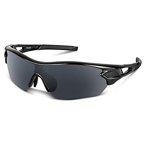 Bea Cool Occhiali da Sole Sportivi Polarizzati Uomo Donna Adolescente Ciclismo Baseball Militare Running Driving Pesca Golf Motocicletta Tac UV400 (Nero lucido1)