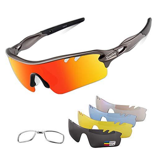 BangLong Occhiali da Sole Ciclismo per Bicicletta MTB 5 Lenti Intercambiabili Occhiali Polarizzati Sportivi Anti-UV 400 Ultraleggeri Uomo Donna Unisex per Ciclismo Corsa Pesca Guida