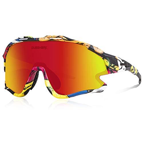 Queshark Occhiali Ciclismo con 1 Polarizzata 3 HD Lente Anti-UV400 per Uomo Donna Guida Pesca MTB Corsa Escursionismo QE0051