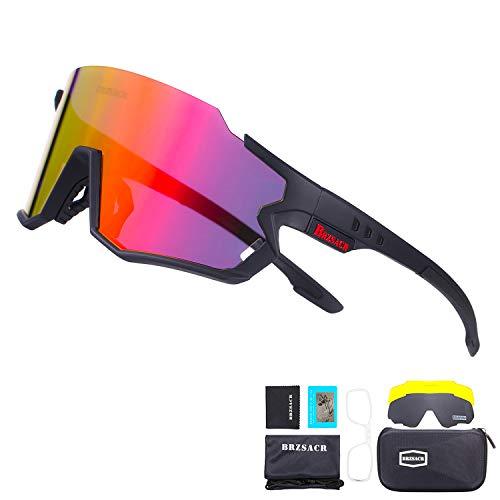 BRZSACR Occhiali Ciclismo Polarizzati Anti-UV con 3 Lenti intercambiabili,Per il ciclismo,l'escursionismo,lo sci,la pesca,ecc.Leggero Resistente. (Nero Rosso)