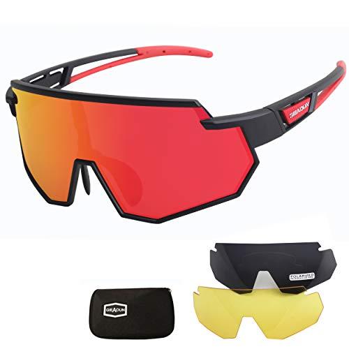 JEPOZRA Occhiali da Ciclismo Polarizzati per Ccchiali TR90 con Montatura per Uomo Donna con 3 Lenti Intercambiabili Anti-UV400 per Corsa Bici Sport Pesca Running Golf Bici Moto