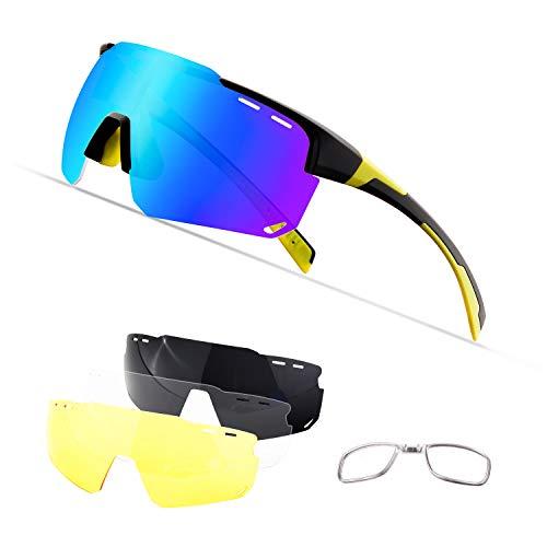 OULIQI Occhiali da Sole Sportivi, Anti-UV 400 Protezione Ciclismo Occhiali da Sole con 4 Lenti Intercambiabili