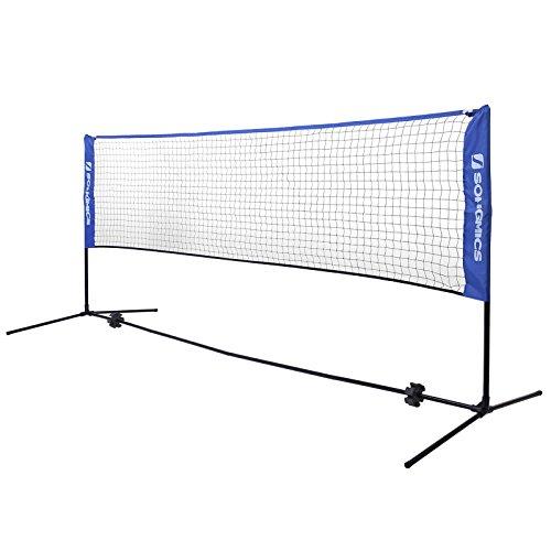 SONGMICS 3 Metri di Lunghezza Rete da Tennis Badminton Portabile Pieghevole Altezza Regolabile 107-155 cm SYQ300V1