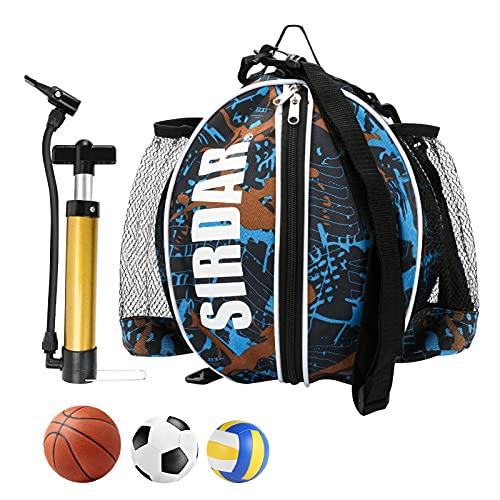 Wikay Basket Borsa Tracolla per Sport all' Aria Aperta Zaino portapalloni Calcio Basket con Pompa Manuale da Tasca, Basket, Ideale per trasportare Basketball, Palla da Calcio, pallavolo
