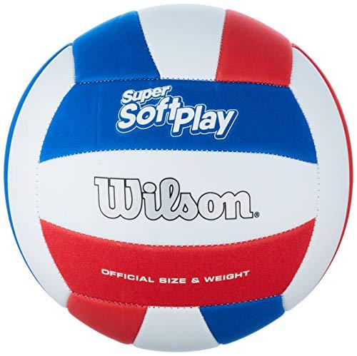 Wilson, Palla da pallavolo, Super Soft Play, Bianco/Rosso/Blu, finta pelle, Dimensioni ufficiali, Indoor e Outdoor, WTH90219XB